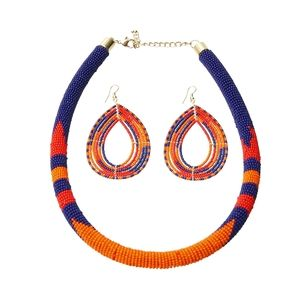 Jewelry - Beaded Wrapped Tribal Necklace